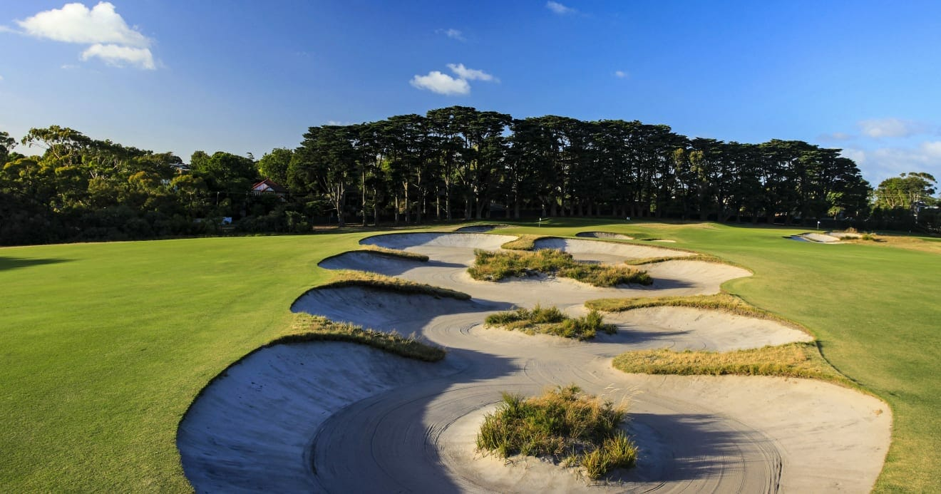 Long sand trap on the 11th hole at Royal Melbourne