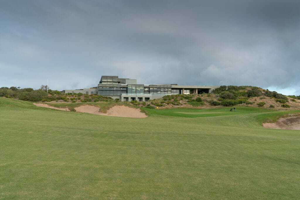 Looking up the eighteenth hole towards the golf clubhouse