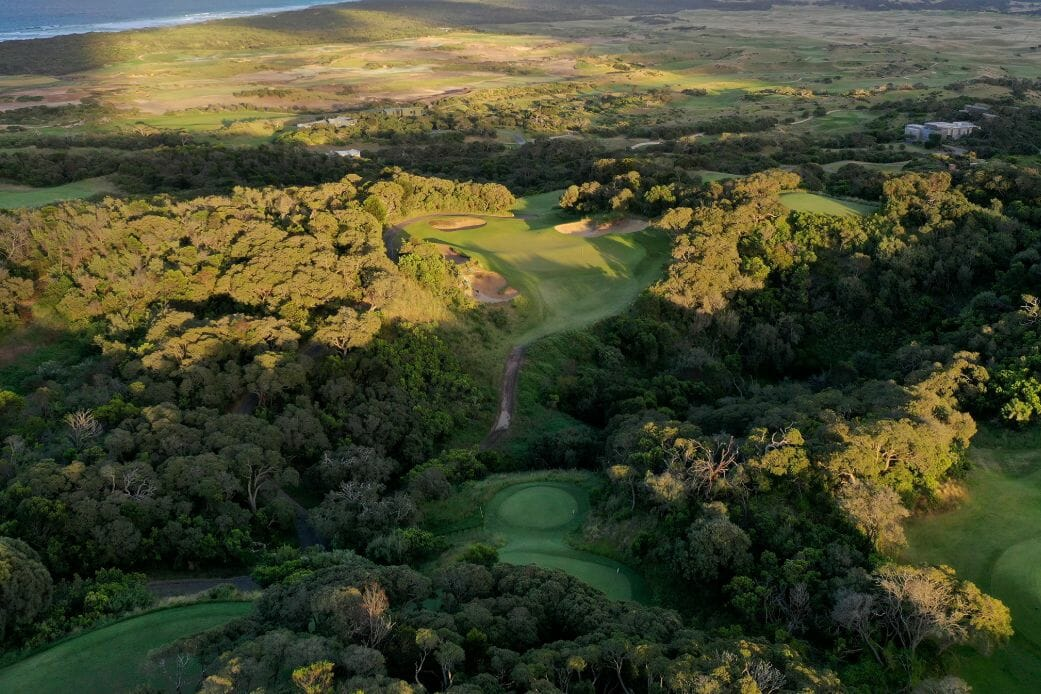 Aerial view over The Old Course and National Moonah golf complex