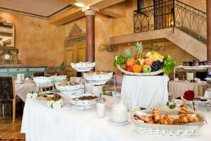 Buffet continental breakfast awaits guests at Chateaux de Vigiers