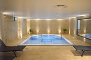 Interior view of the indoor resort spa at Golf du Medoc Resort