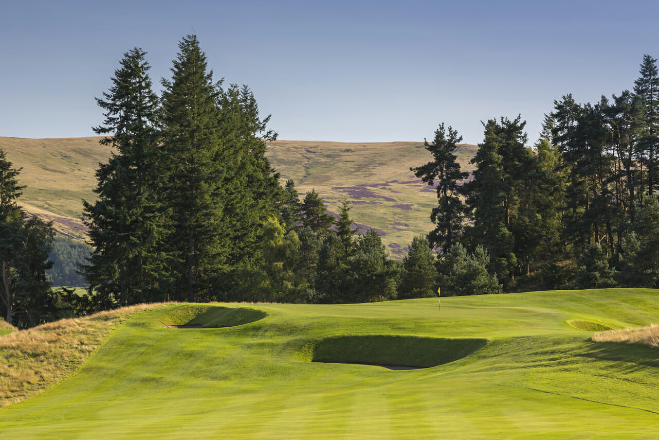 A green is overshadowed by fir trees and protected by pot bunkers