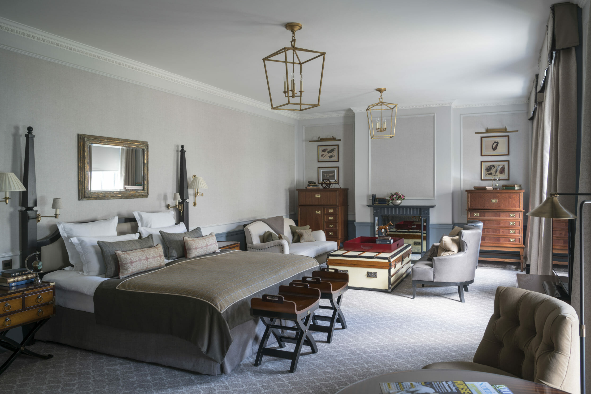 Large living area and king bed adorn the luxury sovereign room