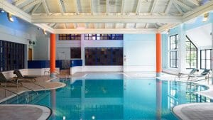 Interior view of the indoor pool at the Marriott Forest of Arden Resort