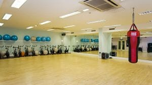 Open plan gym and punching bag awaits guests at Marriott Forest of Arden