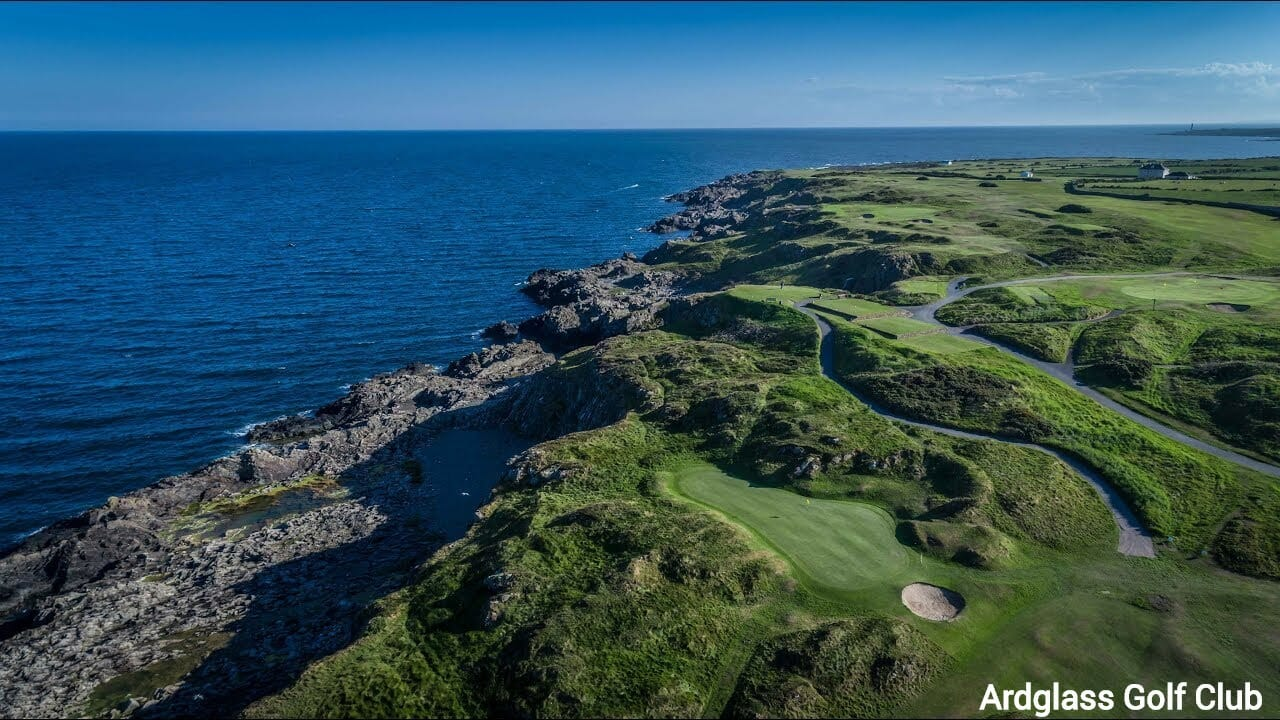 Aerial view of the Ardlgass golf club bordering the ocean