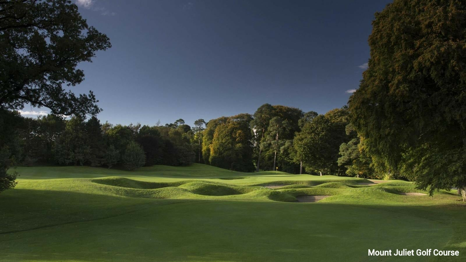 Undulating land and many bunkers feature on the Mount Juliet golf course