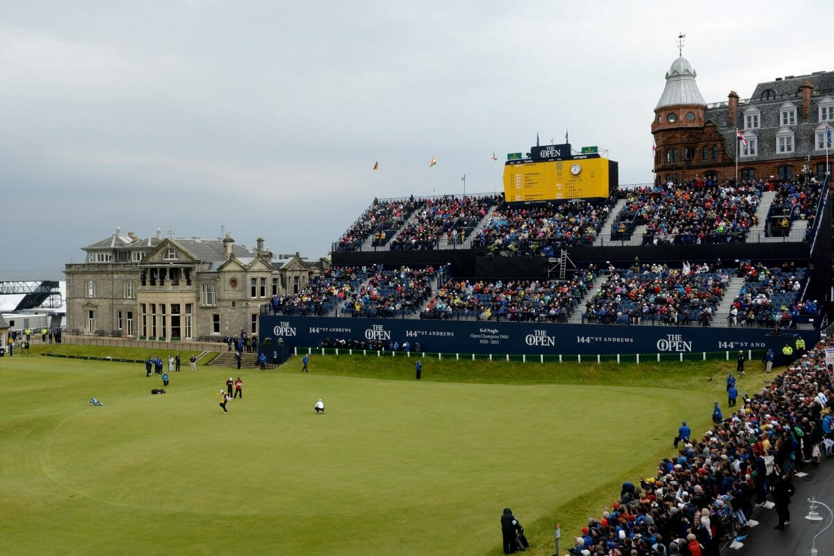 A grand stand looks over the eighteenth green on the Old Course at St Andrews Links