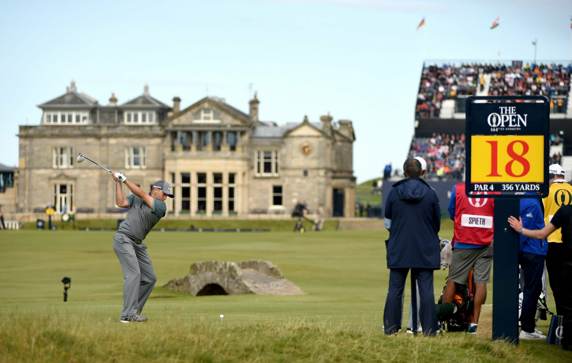 Sergio Garcia tees off on the Old Course at St Andrews in Scotland