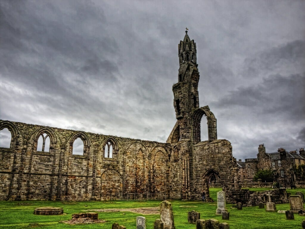 Dark clouds contrast with St Andrews Cathedral ruins