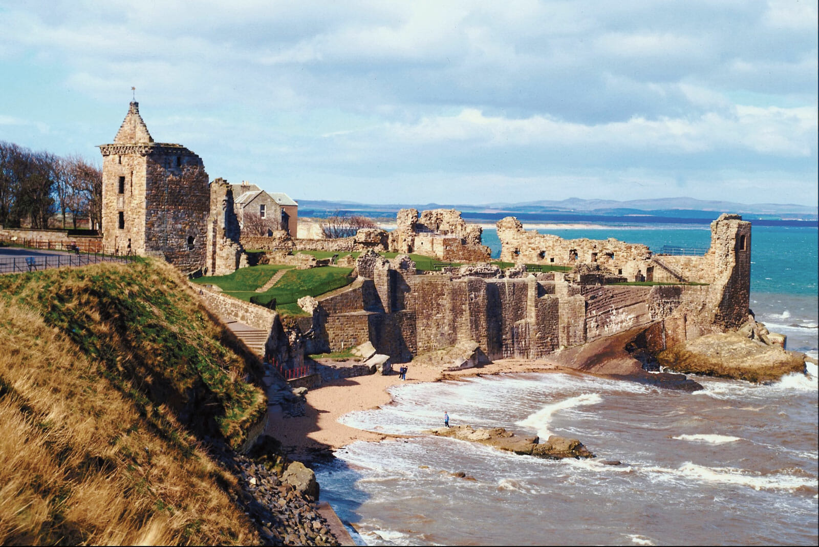 Overlooking St Andrews historical ruins Scotland