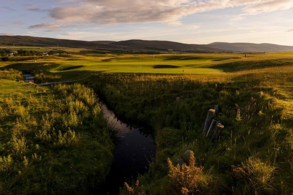Golden sunlight reflects off golden fescue grass at Brora Golf Club