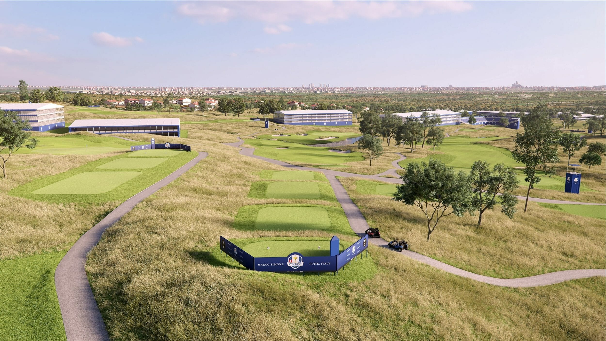 Flyover virtual reality view of the sixteenth hole of the Marco Simone golf course