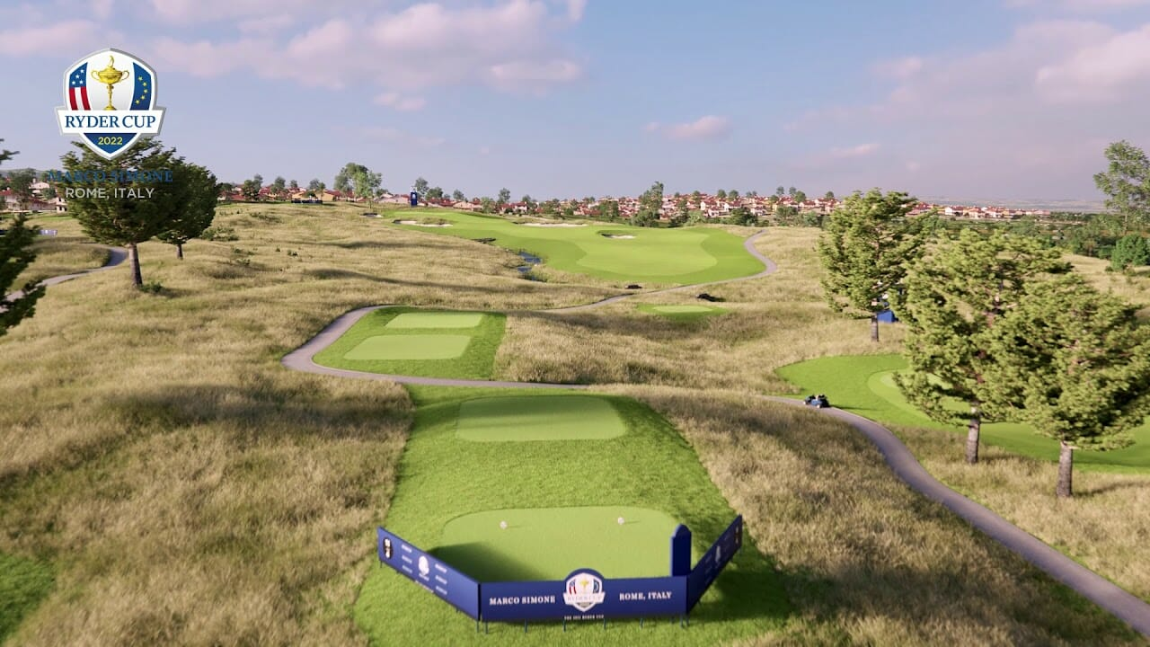 A virtual image of the eleventh hole of the expected 2022 Ryder Cup Course