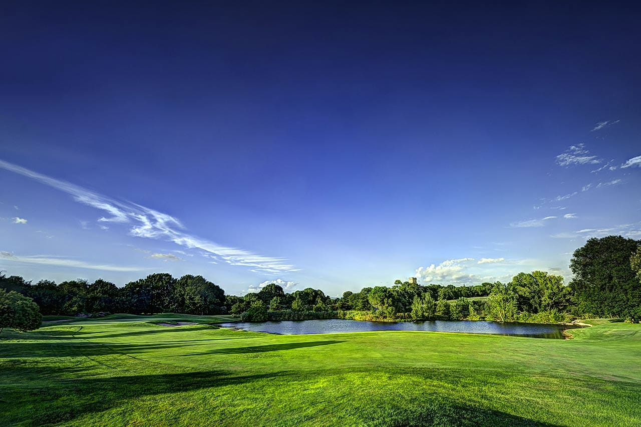 Blue skies shine over the Marco Simone Golf and Country Club