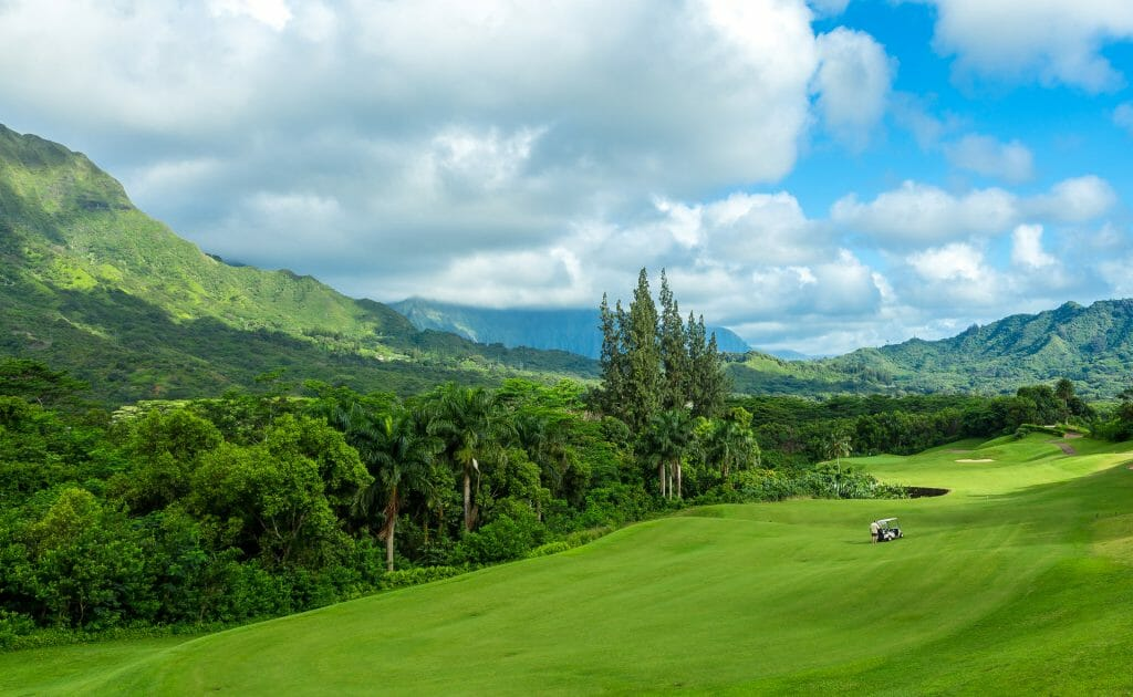 A lone golf cart stands on the tenth fairway of theRoyal Hawaiian Golf Club