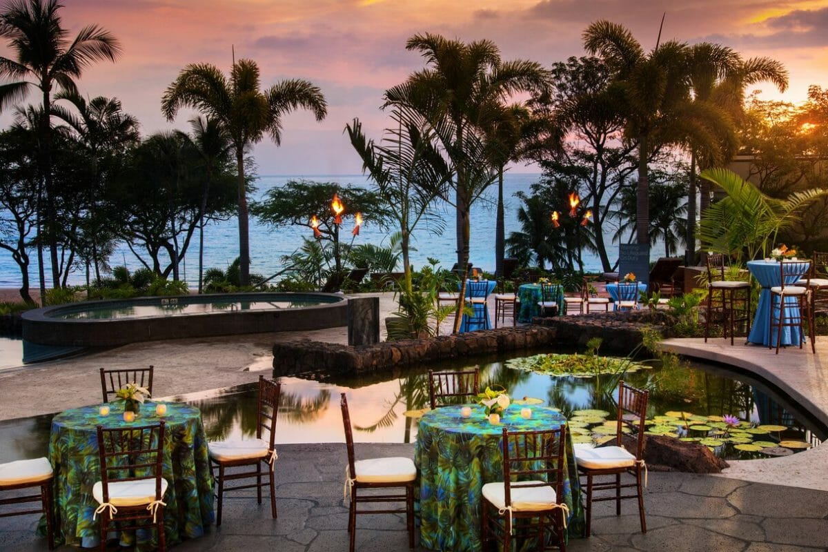 Sunset seating area available to staying guests at Westin Hapuna Beach Resort