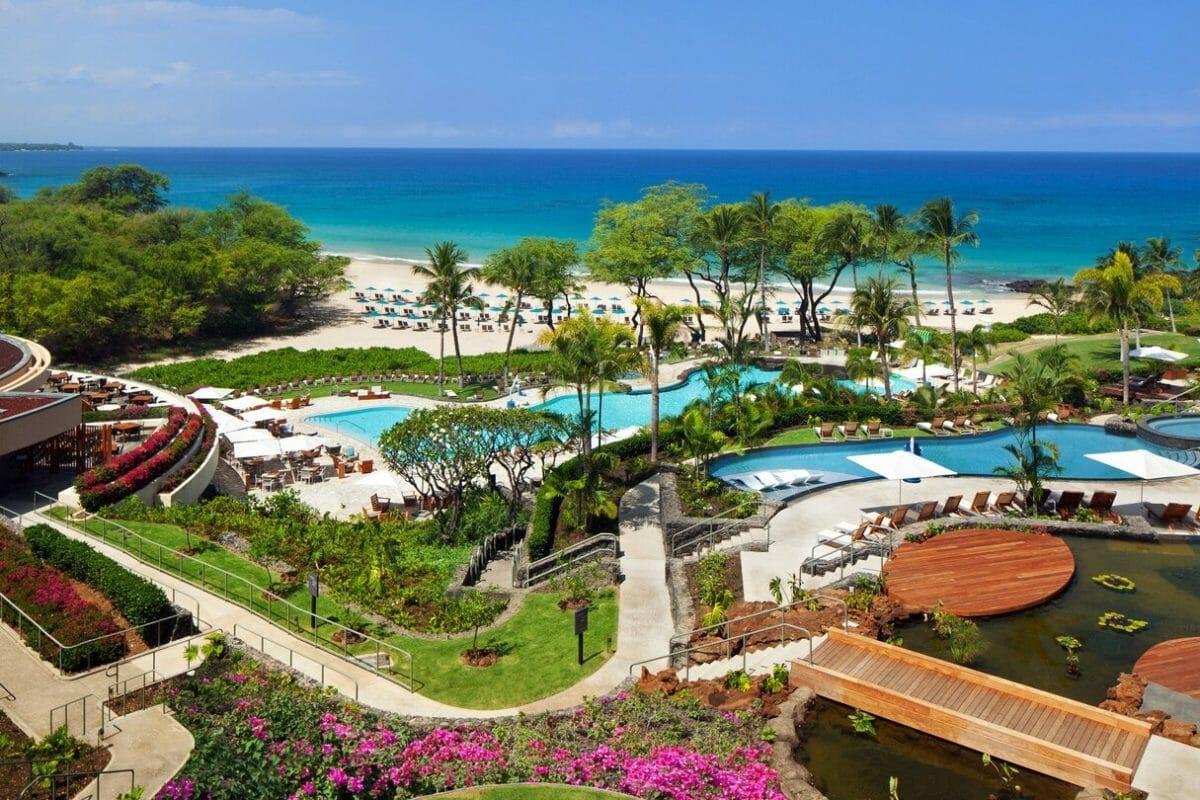 Large resort pools overlook the beach and Pacific Ocean at Westin Hapuna Beach Resort