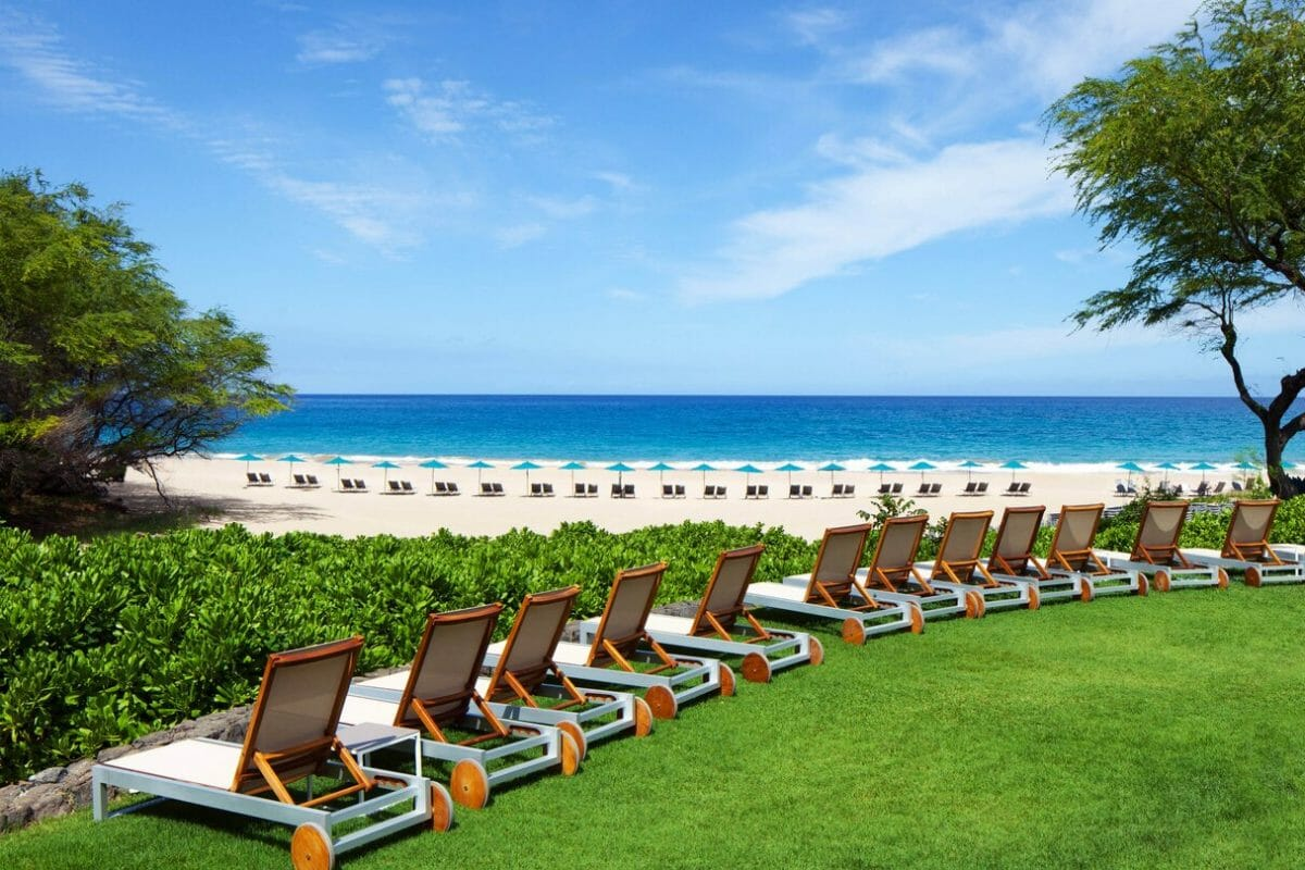 Lines of reclining sun lounges await guests at Westin Hapuna Beach Resort