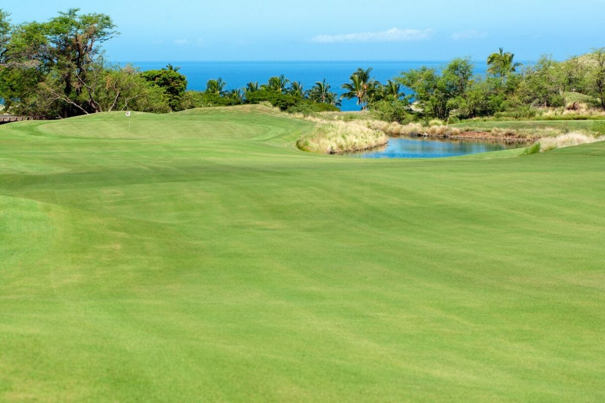 Lush fairway leads to a green with Pacific Ocean views