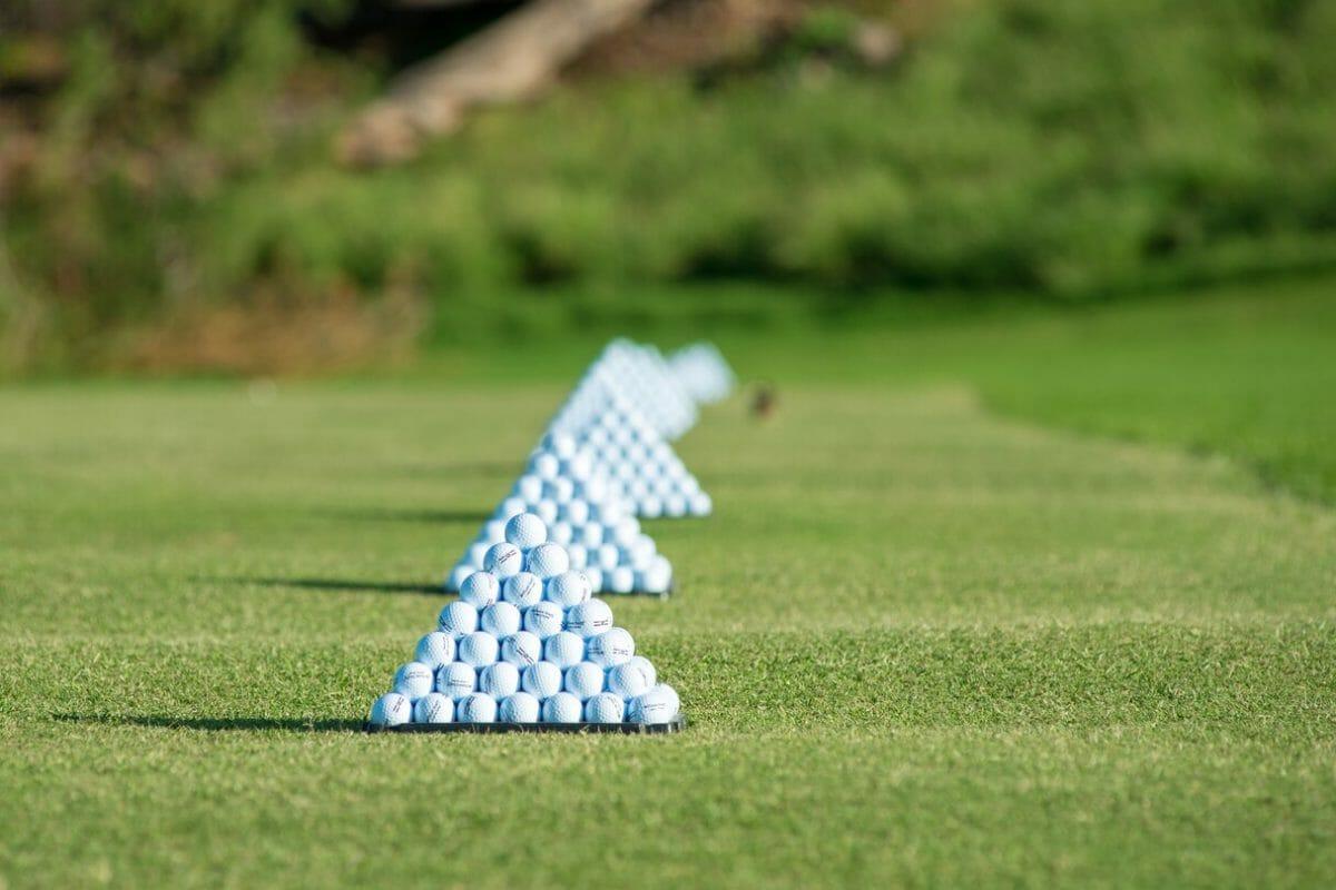 Square pyramids of golf balls await golfers at Westin Hapuna Beach driving range