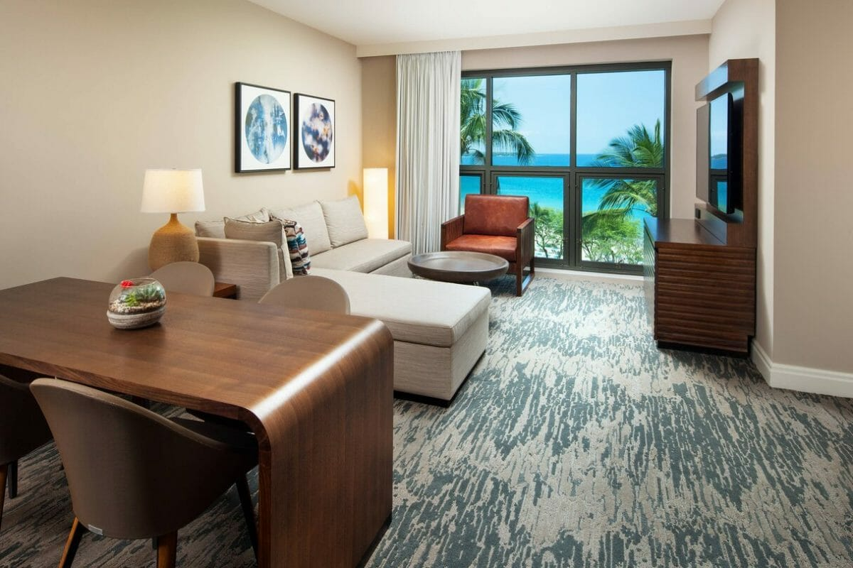 Interior view of separate living area in a suite at Westin Hapuna Beach Resort