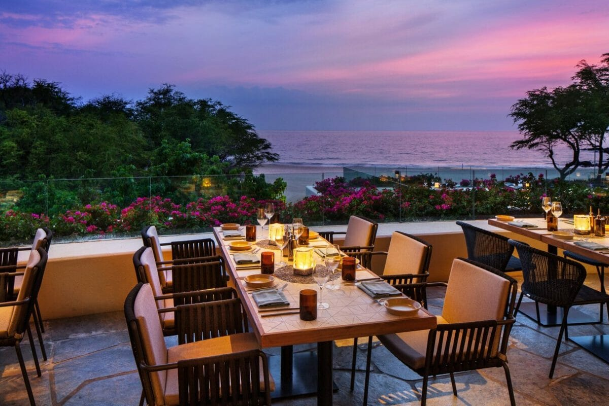Purple sky shines over Meridia Restaurant terrace dining at Westin Hapuna Beach Resort