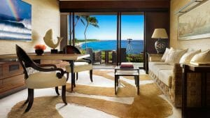 Oceanfront rooms have a private patio overlooking the Pacific Ocean at Lanai's Four Seasons Resort