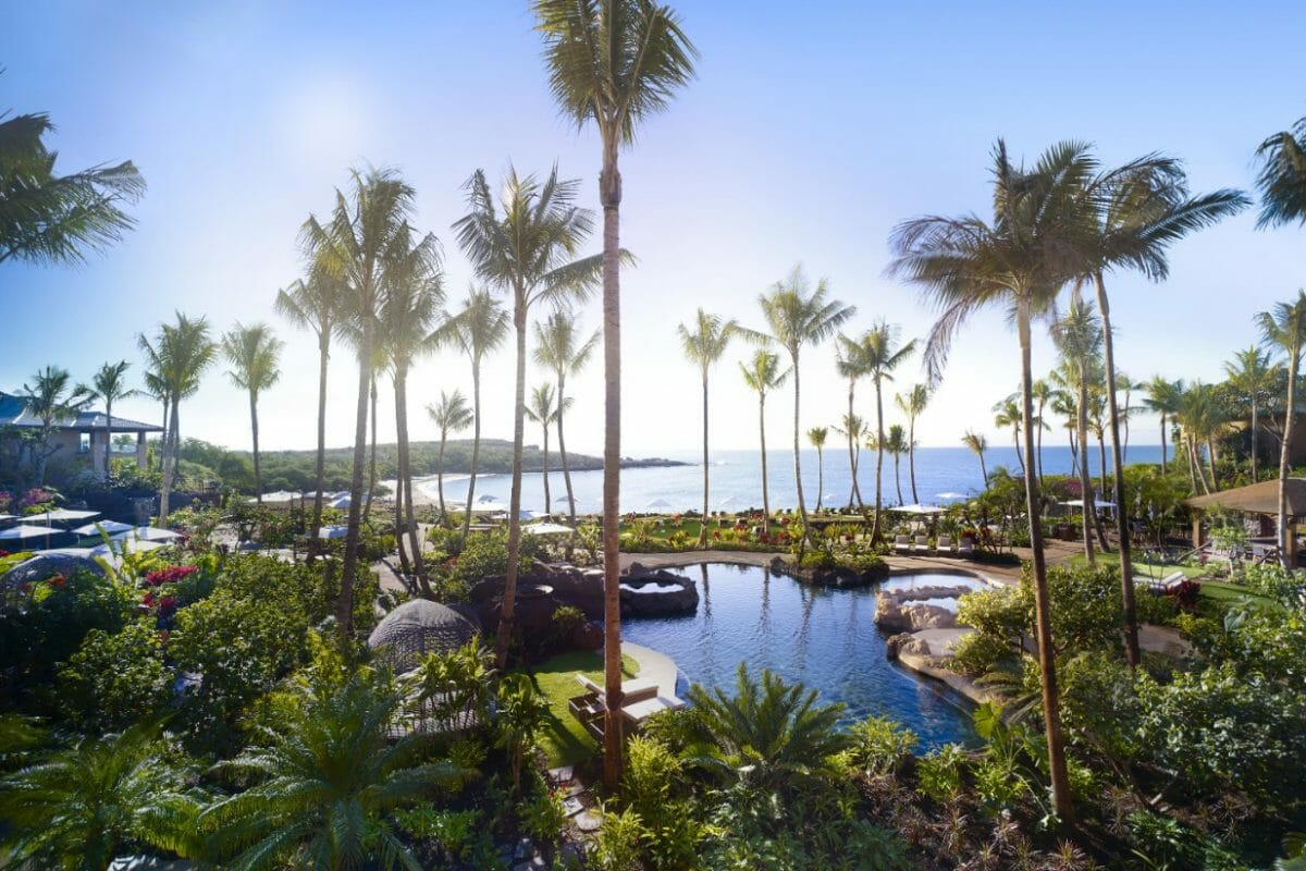 Large palm trees and dense foliage covers much of the lagoon pool at Four Seasons Lanai