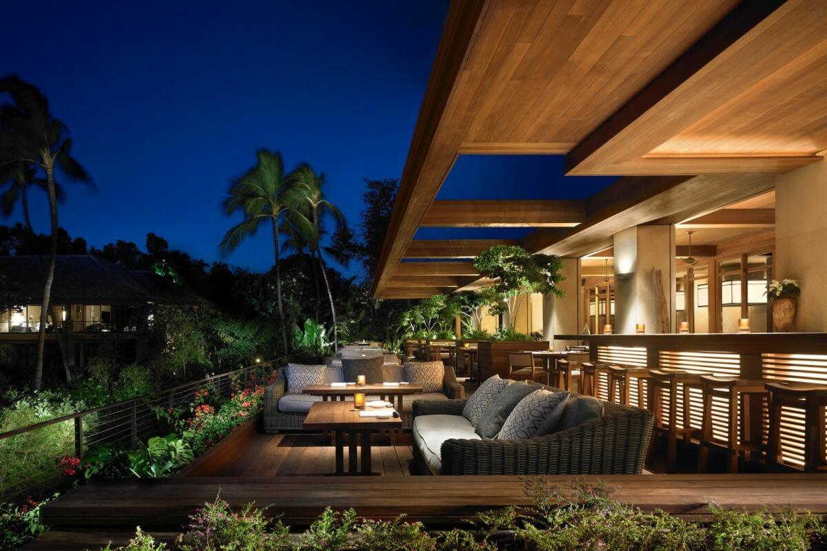 Patio seating next to the Nobu Bar at Four Seasons Resort