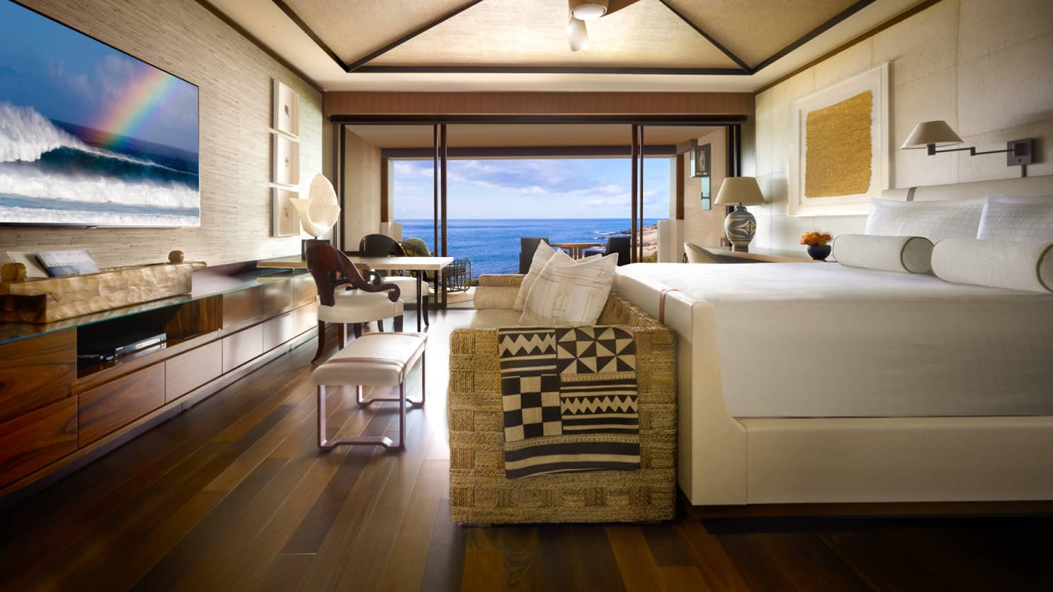 Internal view of an oceanfront room with contemporary furnishings
