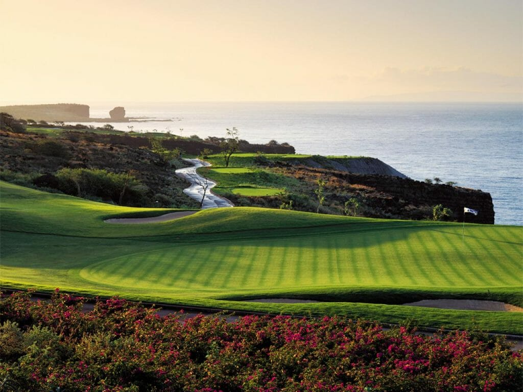 Manicured fairways and ocean views at Manele Bay Golf Course