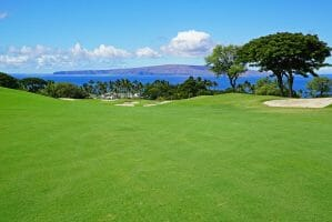 Overlooking the eighteenth fairway of the Emerald Course with distant views to Lanai