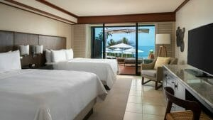 Twin beds with a view over the Pacific Ocean at Wailea Beach Resort