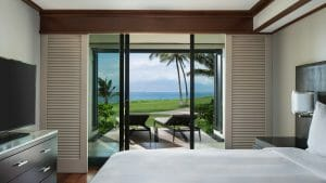 View of a bedroom with Patio overlooking the Pacific Ocean