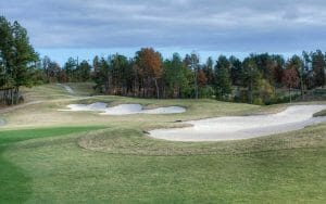 Large bunkers characteristic of Robert Trent Jones feature on the Mindbreaker course