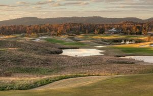 Autumn turns trees red and yellow at Silver Lakes Golf Course