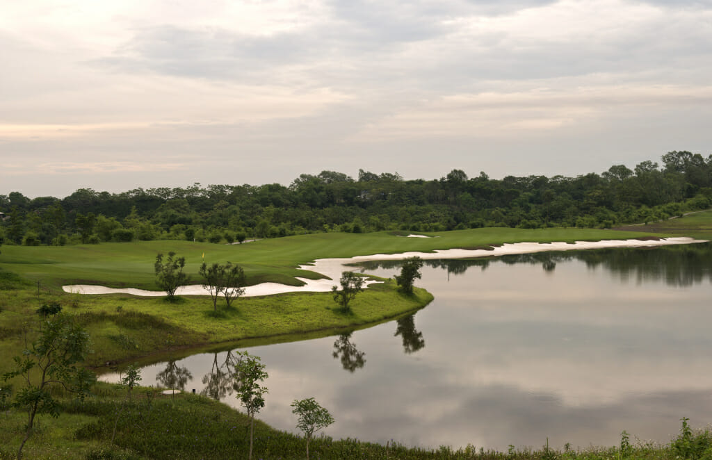 Large lake separates fairways on the thirteenth hole
