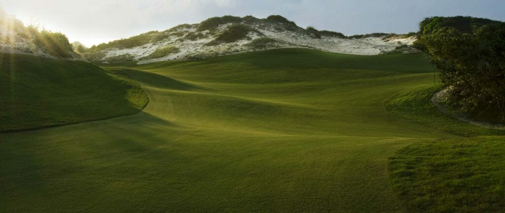 Towering sand dunes and massive elevation changes on the golf course