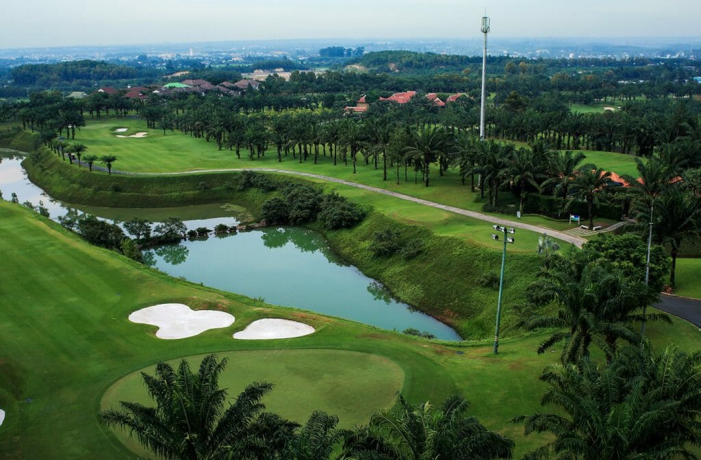 Aerial view of overhead lights standing over the golf course at Long Thanh