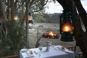 Exclusive picnic dining with outdoor fire at Gondwana Game Reserve
