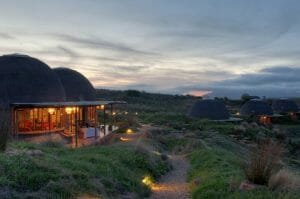 Resort buildings at twilight at Gondwana Game Reserve