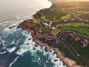 Aerial view over Pinnacle Point Estate and Indian Ocean