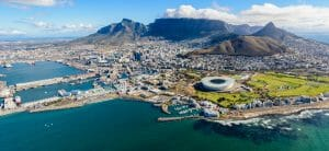 Aerial panoramic view of South Africa's Cape Town