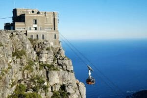 Top of the cable car at Table Mountain in South Africa