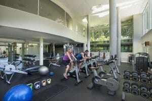 People workout in the gymnasium at Fancourt Resort
