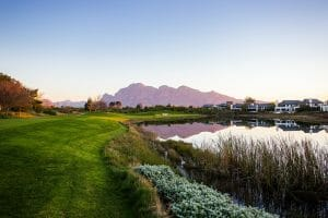 Mountain range rises over the back of Pearl Valley's golf course
