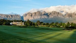 Large mountain range dominates the scenery from Erinvale estate