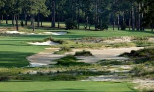 Wasteland bunkers on Pinehurst No. 4 golf course