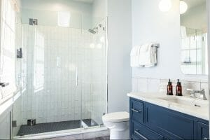 Renovated modern bathroom at The Manor